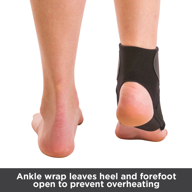 This athletic ankle support features an open heal and forefoot design to prevent overheating