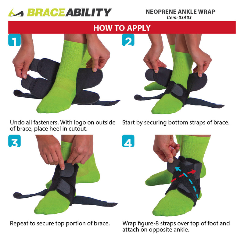 To put on this BraceAbility start by wrapping the foot strap, then the ankle strap. The fasten the right figure 8 strap by wrapping it under your heel. Finish by wrapping the figure 8 strap on the right size.