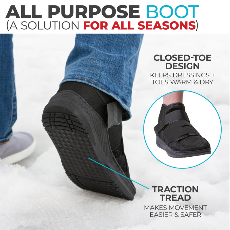 our closed toe medical boot keeps your toes warm during the winter