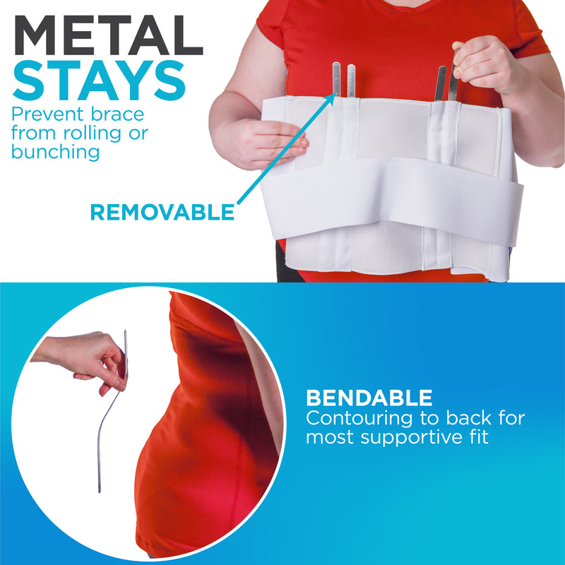 The four removable stays prevent the brace from rolling and can be removed for washing