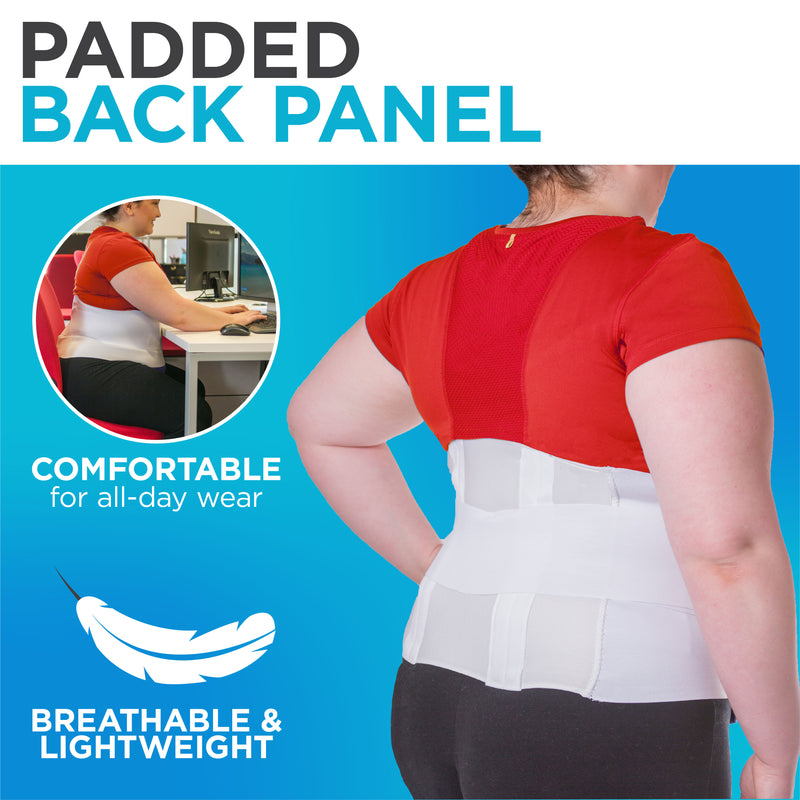 The breathable material on this back brace allows for a cool all-day fit
