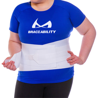 This bariatric back support for treatment of pain in the lumbar back features crisscross straps as well as double-pull tension straps for ultimate support and compression