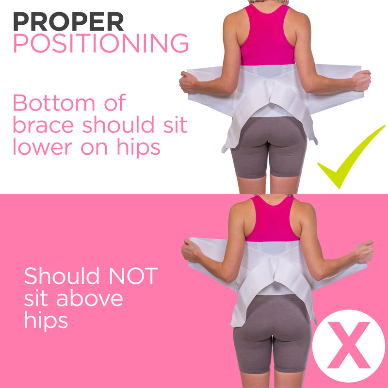 The womens back brace should be centered on your lower back, just above your buttocks