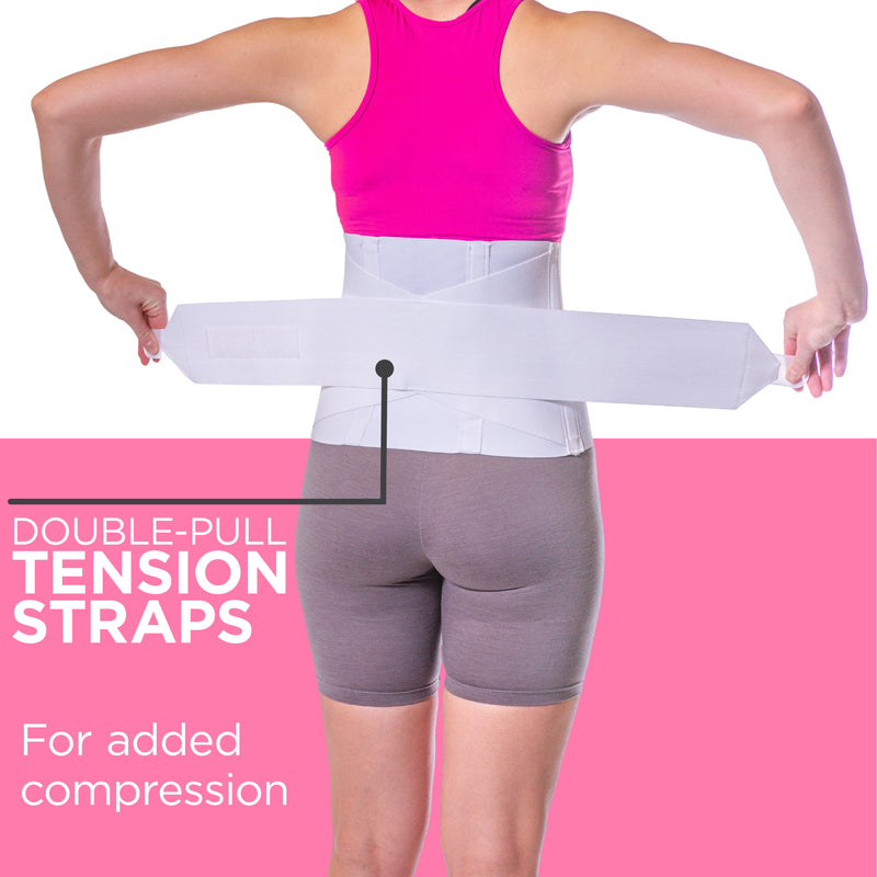 Double-pull elastic tension straps provide added compression