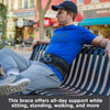 The back brace offers all-day support while sitting, standing, walking, and more