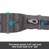 Back panel of this lumbar belt is 8 inches tall and front is 6 inches tall