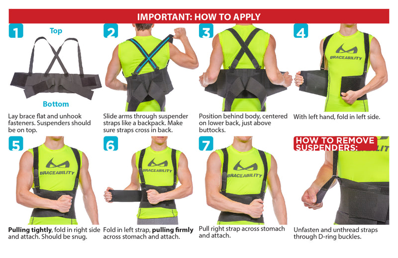 How to put on the back support for work instruction sheet. Start by putting on suspenders like a backpack, adjust waist band, then cinch tension straps