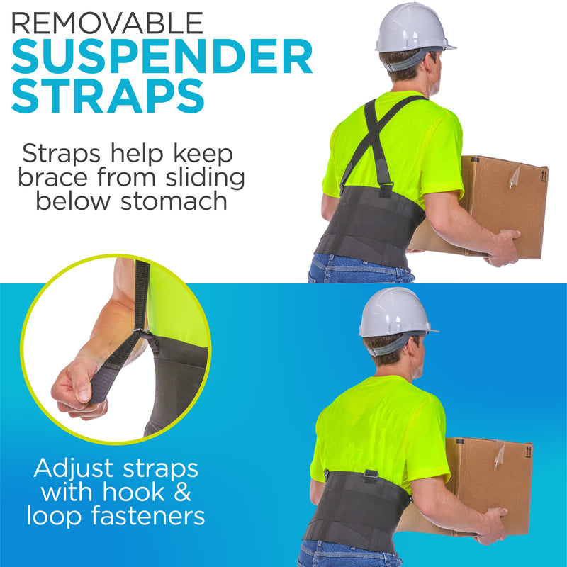 Back brace with shoulder straps can be adjusted or removed to prevent the belt from sliding below stomach