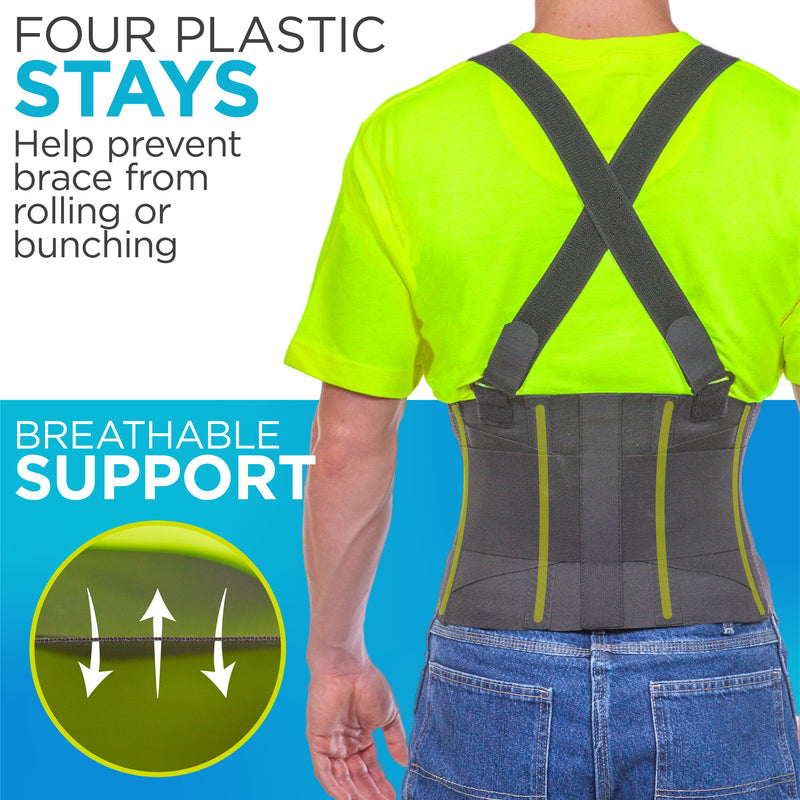 Breathable, black industrial back brace is made with premium quality elastic for all-day comfort. Four plastic stays prevent brace from rolling or bunching.