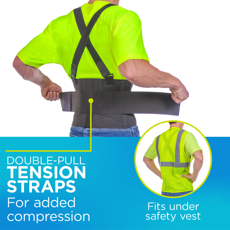 Double-pull straps ensure that the suspenders are securely attached to the heavy lifting back brace.