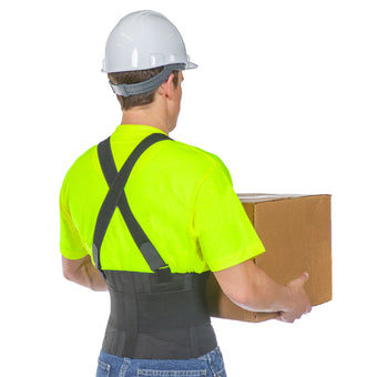 The back brace for heavy lifting supports the tissues of the lumbar back and promotes proper lifting techniques, reducing stress on the back and easing pain.