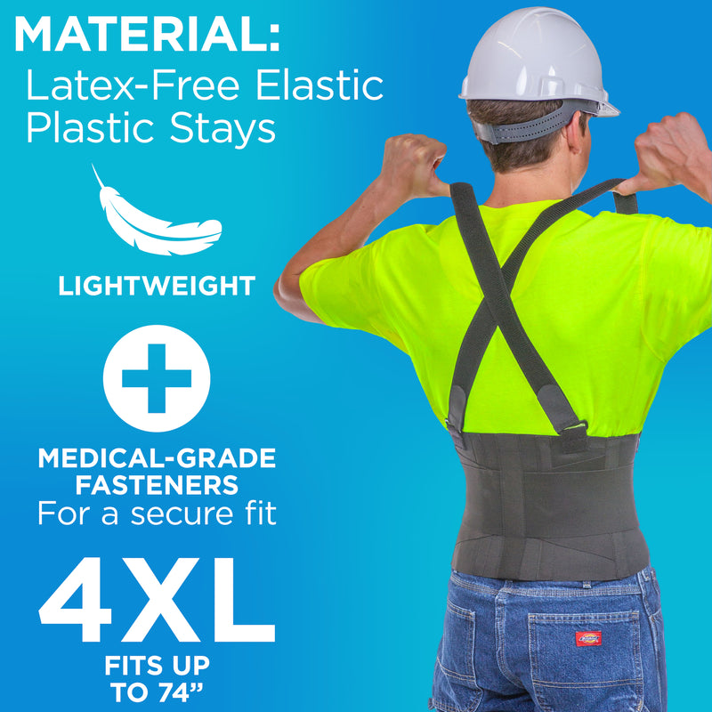 Made of elastic, the industrial back support belt is lightweight and has medical-grade fasteners for a secure fit