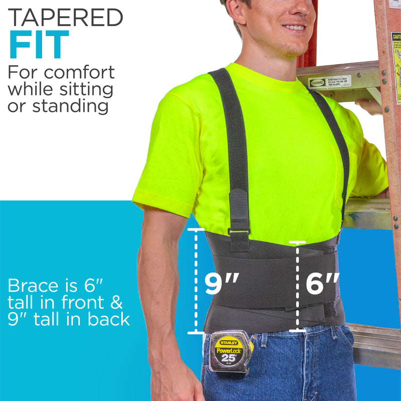 The back brace for construction is 9 inches tall making it great for bending and twisting