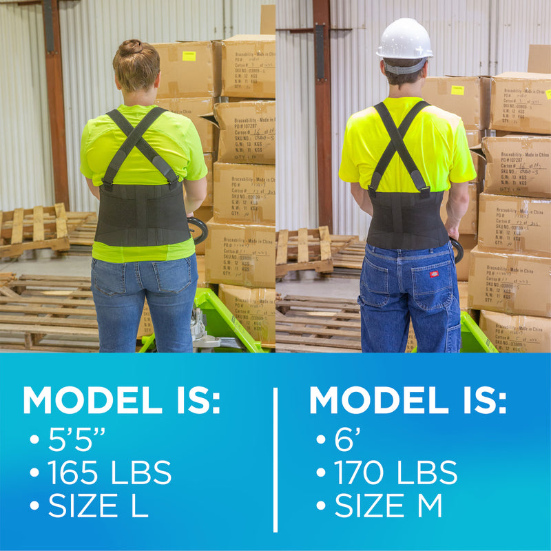 The work back brace is available in regular to plus sizes, fitting men or women with a wide range of body shapes and sizes