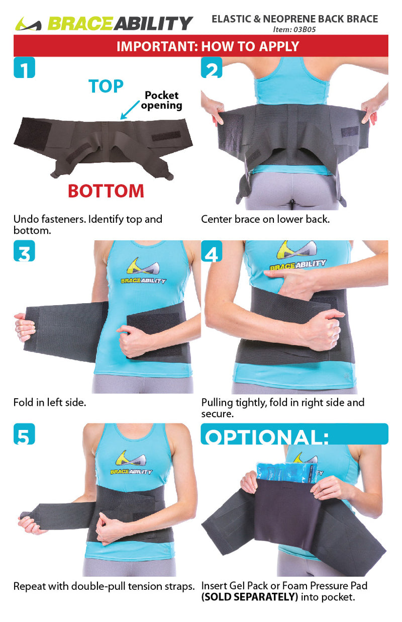 the instruction sheet for our nighttime back pain brace starts by centering the brace behind your back. Wrap in left side of brace. Follow by folding in right side and attaching the Velcro. Repeat this for double-pull tension straps.