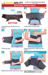 to apply the elastic back brace, wrap the inner straps around waist, repeat with double-pull tension straps