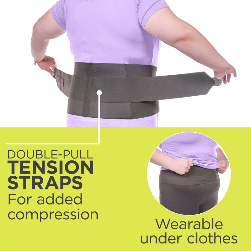 double-pull tension straps help the neoprene back brace give extra-strength support. Wear the back support for sleeping under or over clothes