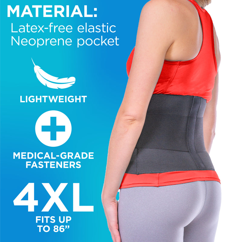 The sciatica belt is made with lightweight, medical-grade fasteners fit up to 80 inch hip circumferences