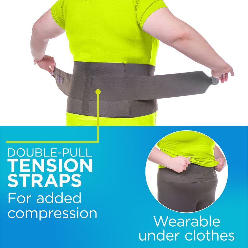 Double-pull tension straps provide sciatic nerve pain relief. The back support can be worn under clothes