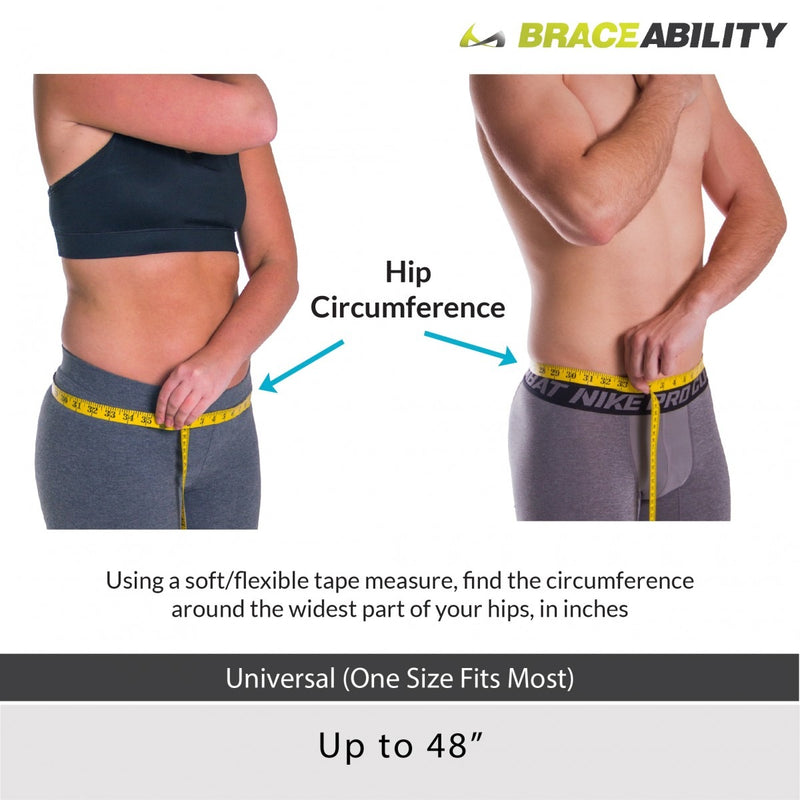 Sizing chart for trochanter hip support belt - measure the circumference around your hips. Fits up to 48 inch hip circumferences
