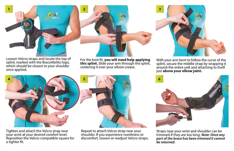 How to put on the cubital tunnel splint instruction sheet