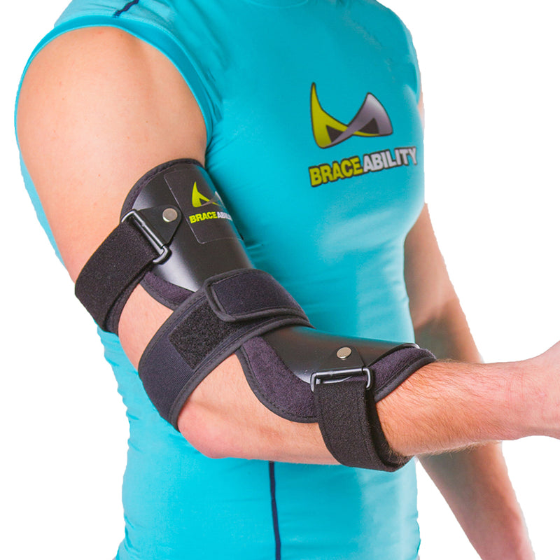 Elbow brace for cubital tunnel syndrome treatment immobilizes the elbow at a 122-degree angle and it allows users to easily access any dressing on the elbow.