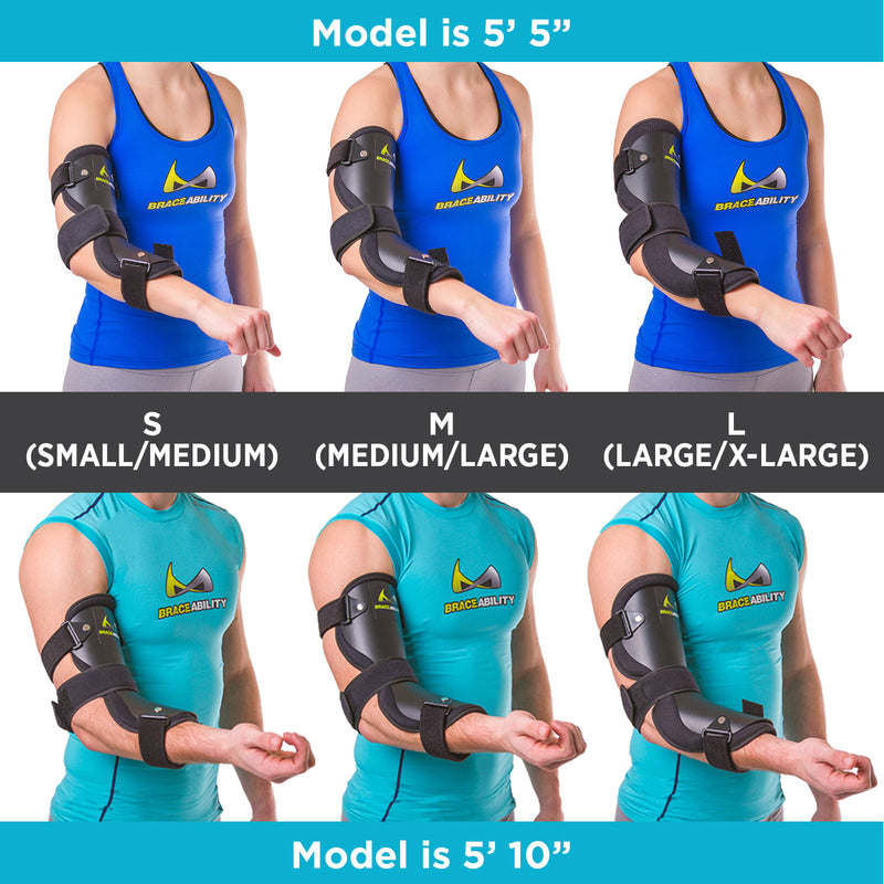 The three different lengths of cubital tunnel brace fit differently on different size body frames