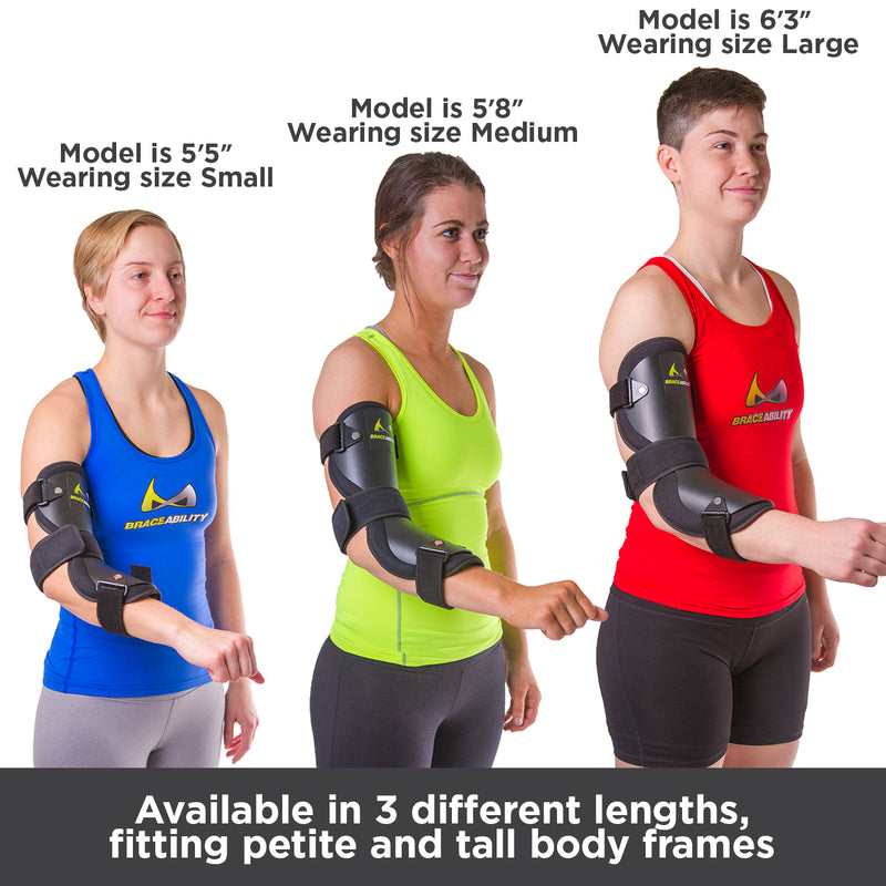 Available in three different lengths, the cubital tunnel elbow brace fits both petite and tall body frames
