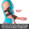Cubital tunnel syndrome brace holds arm at 122 degree angle, preventing excessive hyperextension or straightening