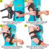 To put on the cubital tunnel brace slide your arm through the straps, resting the shell on your inner elbow. Then wrap the straps to desired fit.