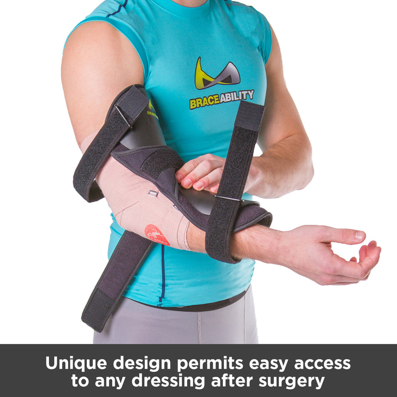 You can wear our ulnar nerve entrapment treatment brace over dressing after surgery