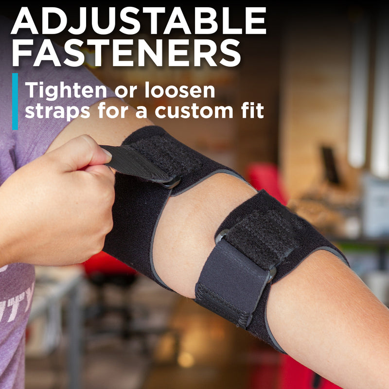 the padded elbow sleeve for bursitis and arthritis has adjustable fasteners