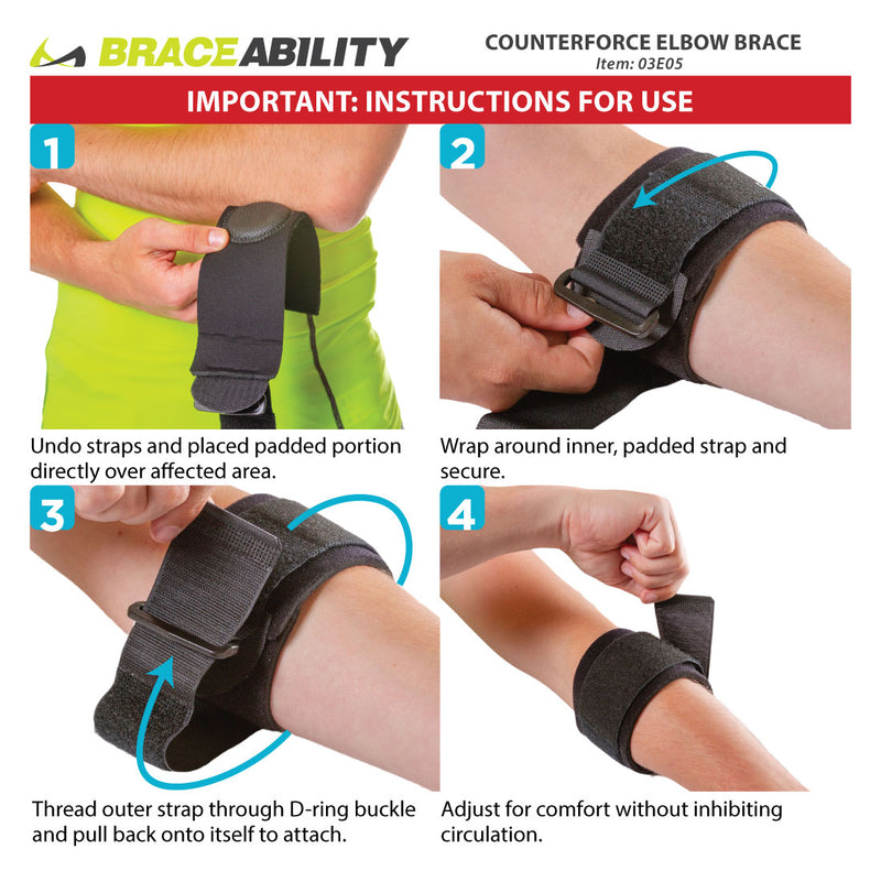The instruction sheet for the counterforce elbow brace shows applying the compression pad to the effected elbow for pain relief to tennis and golfers elbow