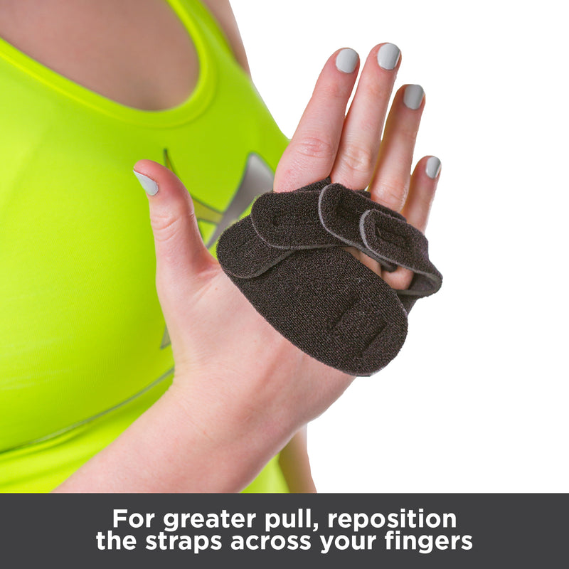 For great pull and ulnar deviation correction, reposition the straps across your fingers