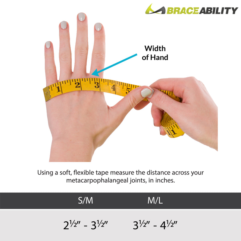 Sizing chart for ulnar drift hand splint. Available in sizes S/m and M/L.