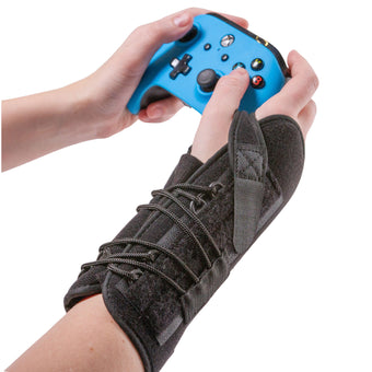 BraceAbility gaming wrist brace to support your hand while on a keyboard or mouse
