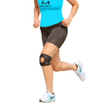 Short and lightweight patella tracking brace for runner's kneecap pain, dislocation, and subluxation