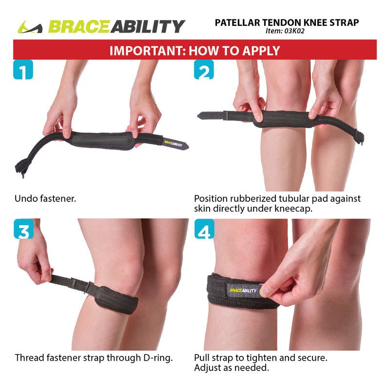 use the instruction sheet to apply the osgood-schlatter knee band