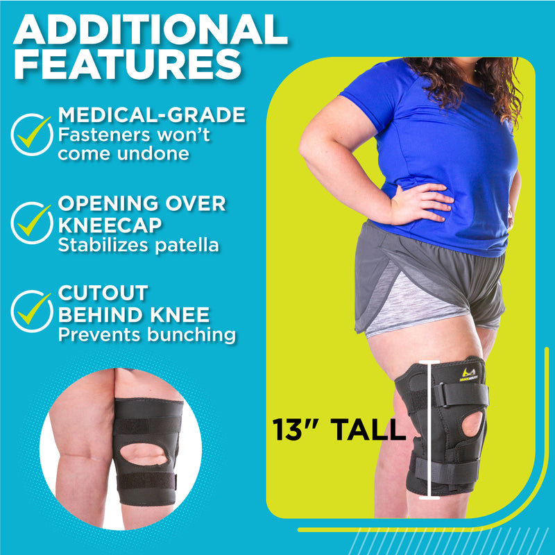 8afb10977d ... big and tall knee brace allows you to bend. Velcro closures located  above and below your kneecap to prevent slipping and bunching