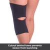 Cutout behind knee prevent knee sleeve from bunching