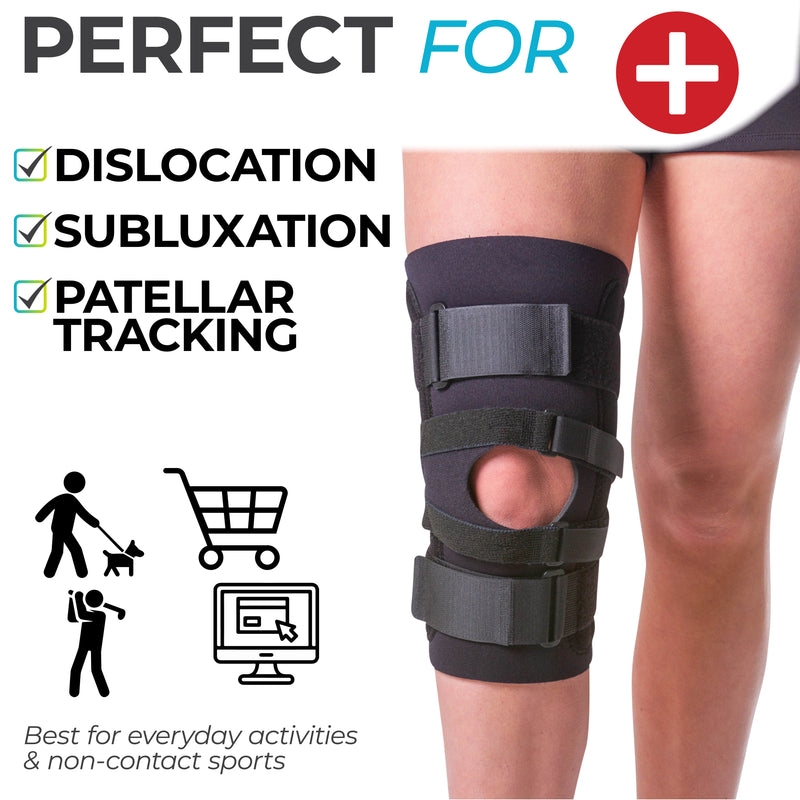 knee support for dislocations, subluxation, and patellar tracking