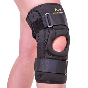 The BraceAbility U-shaped patella stabilizing knee brace is designed to prevent patella tracking