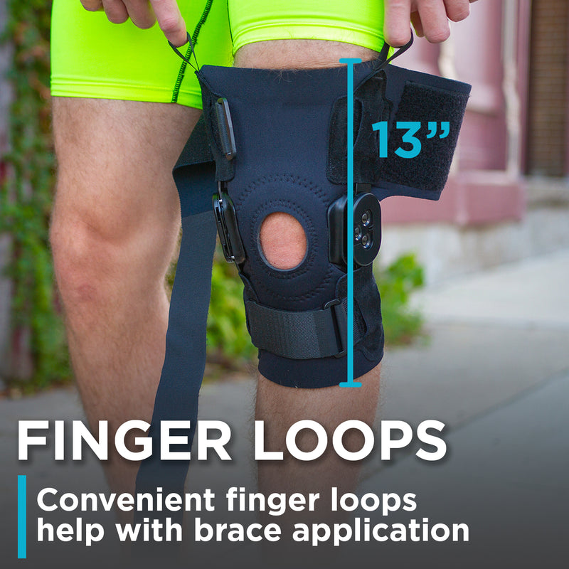 finger loops make the application of the knee hyperextension brace fast and easy