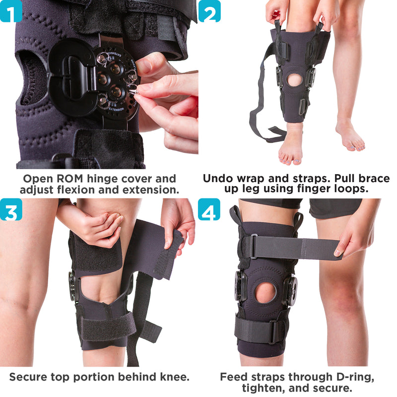 to put on the torn meniscus knee brace slide it onto your kneecap and tighten straps