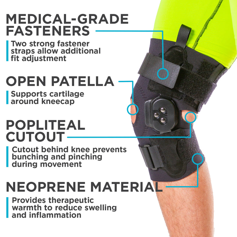 neoprene hinged knee brace with open back prevents bunching while walking