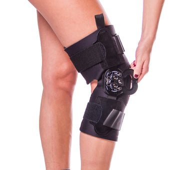 Hyperextension knee brac for recovery and prevention
