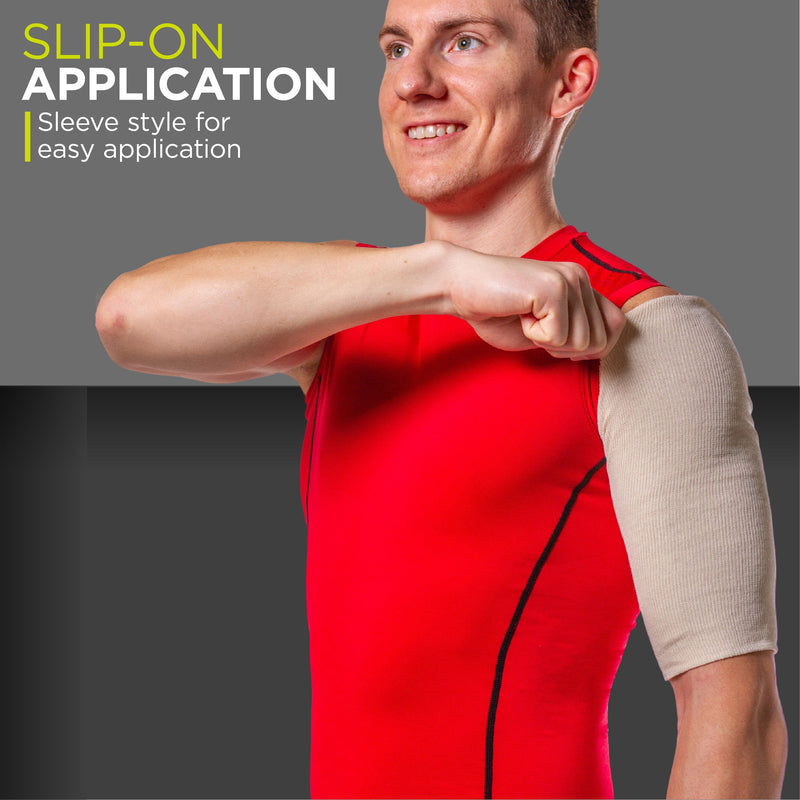 A slip-on sleeve for humeral upper arm fractures helps compress the shoulder and keep the injury clean