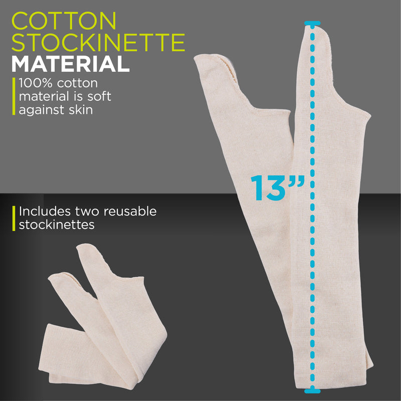 13 inch tall upper arm compression sleeve made of a cotton stockinette material