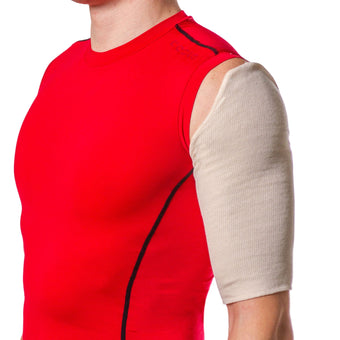 Stockinette under sleeve for Sarmiento brace for humeral shaft fracture is thin and lightweight and is hand washable