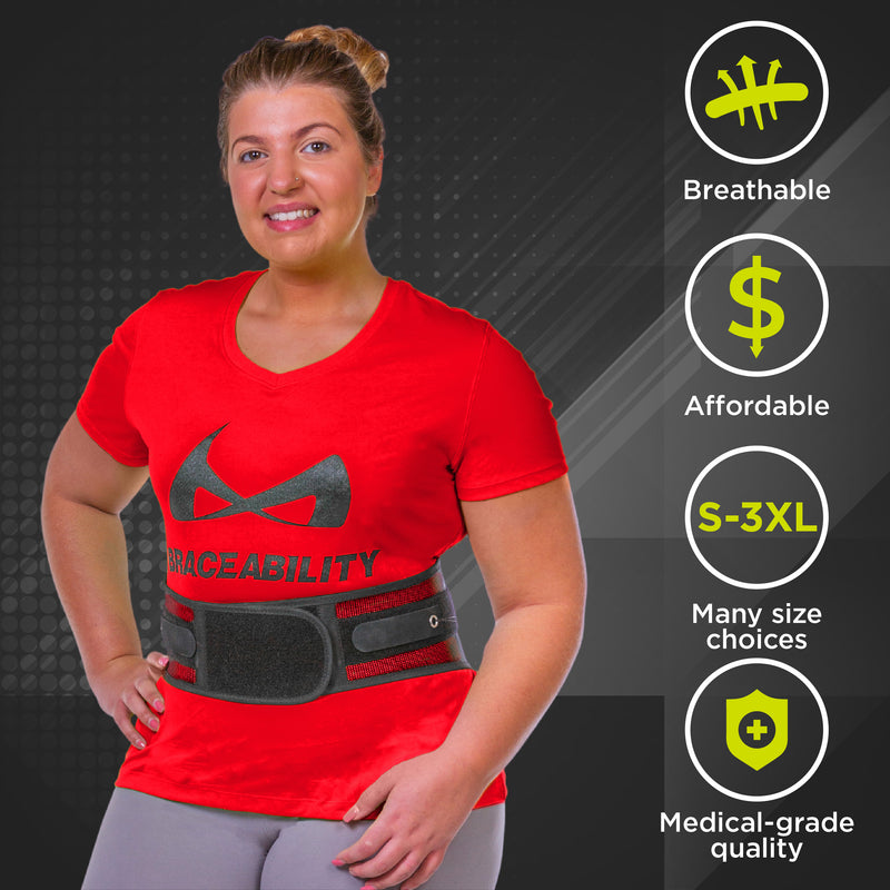 Golfers back brace helps stabilize and support the lumbar spine
